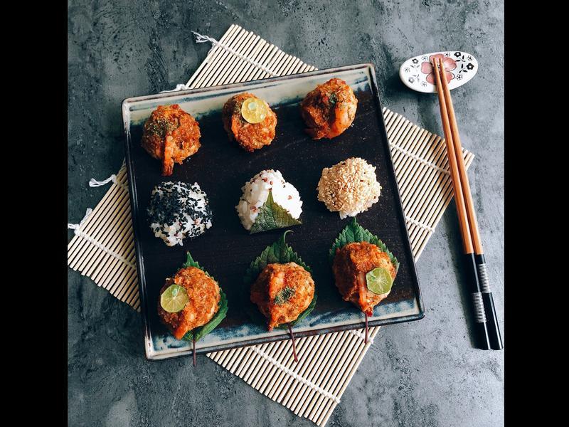日式一口蕃茄雞肉蝦球•藜麥芝麻鹽飯糰