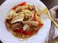 [和風] 清炒雞肉杏鮑菇義大利麵