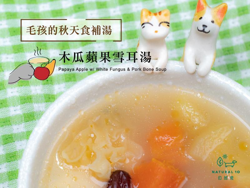 [寵物鮮食食譜] 貓狗木瓜蘋果雪耳湯