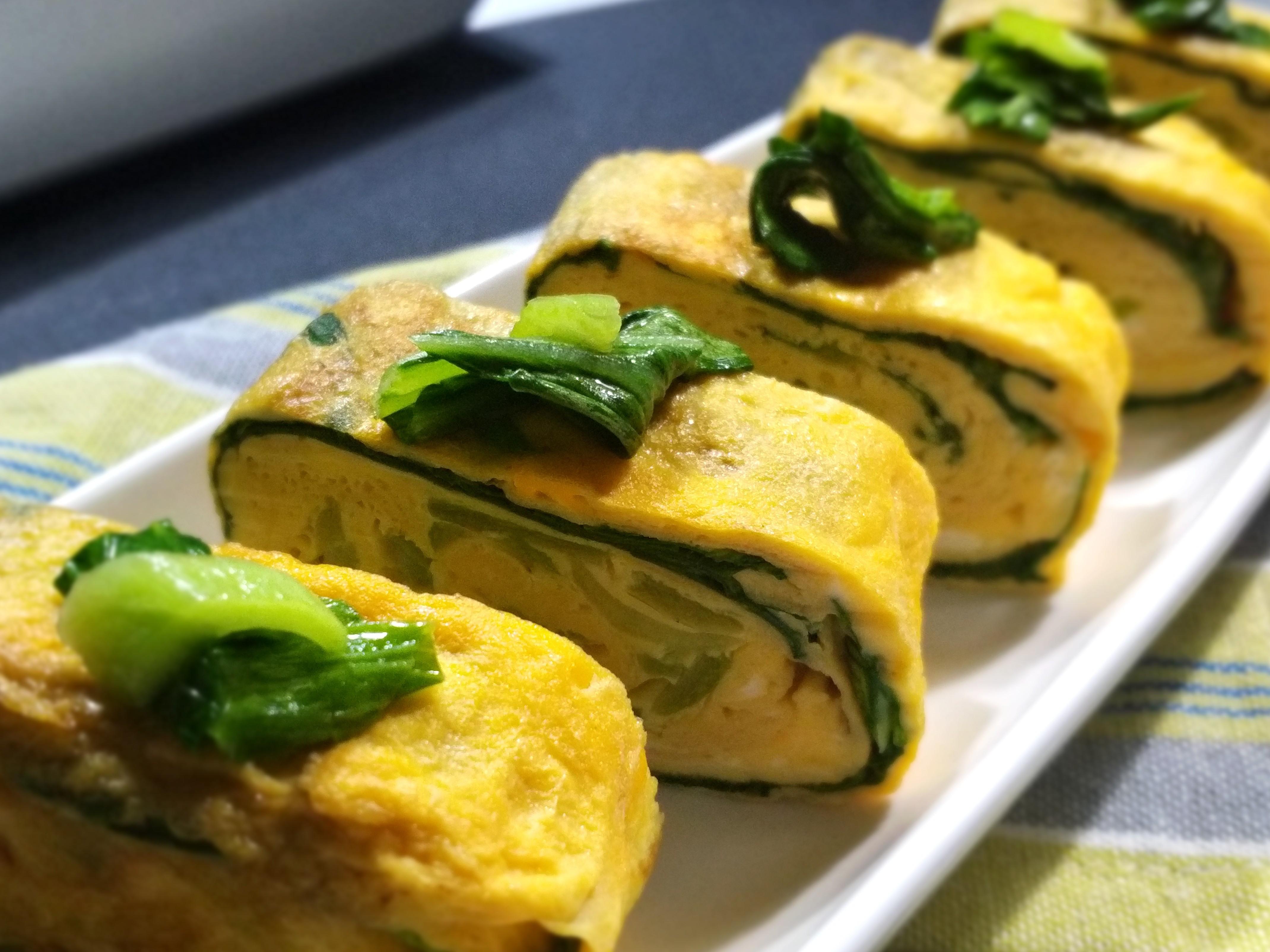 青江菜醬油玉子燒~蛋奶素