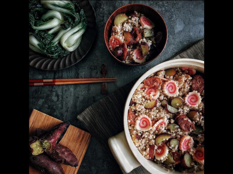 土鍋炊飯➰香腸地瓜雙麥炊飯