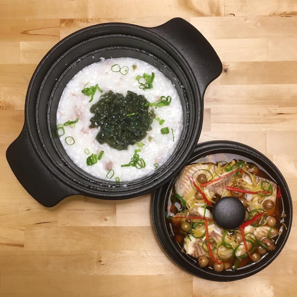 皮蛋瘦肉粥+破布子蒸魚