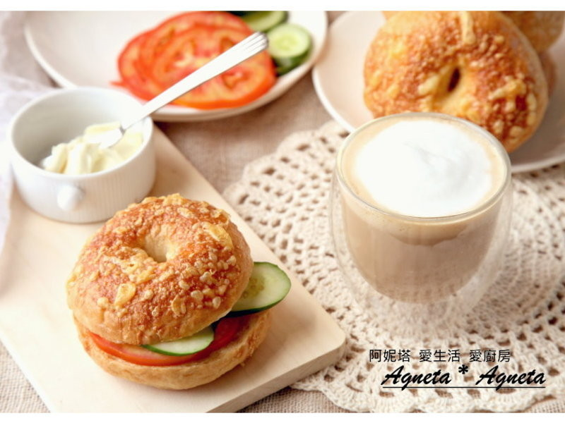 [阿妮塔♥bread] 帕米森起司貝果,輕食早餐。
