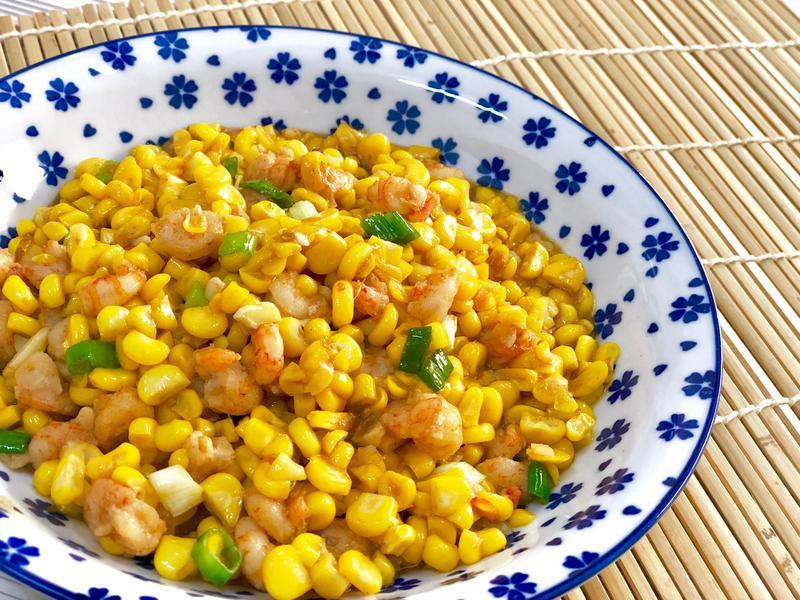 沙茶蝦仁炒玉米