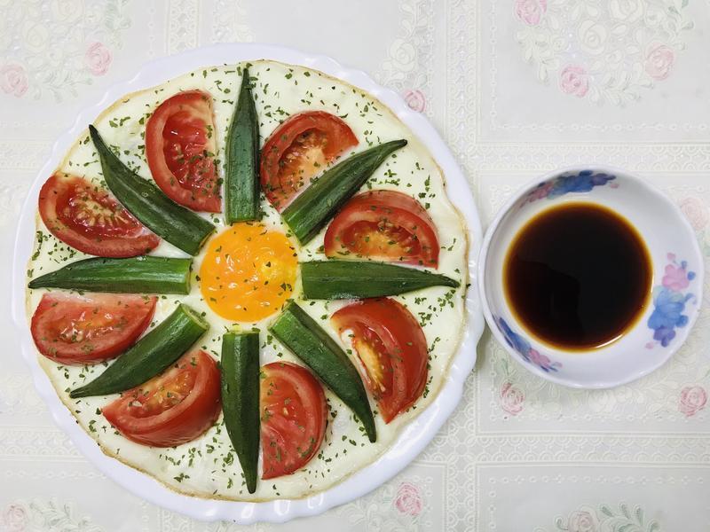 秋葵蕃茄太陽蛋