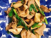 お弁当-1810209-蔥爆鹽麴肉片炒菇