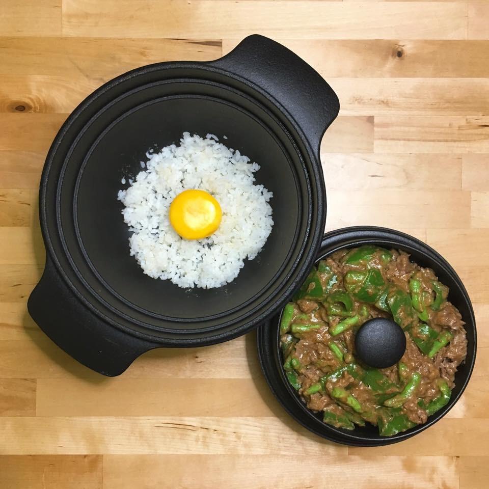 月見釜飯+燴青椒沙茶牛肉