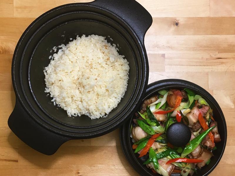 蒜苗炒鹹豬肉+香豬油燜飯