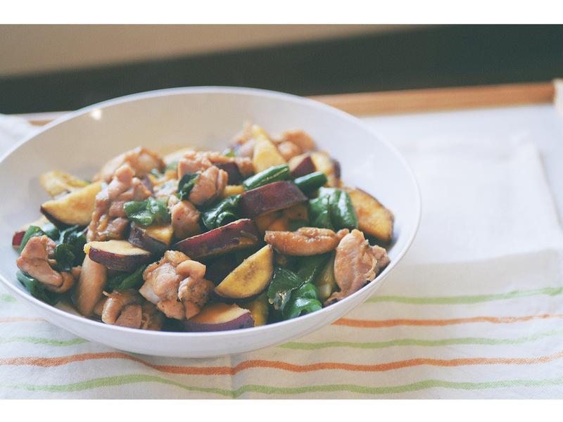 鮮甜地瓜時蔬炒雞肉,秋季饗宴