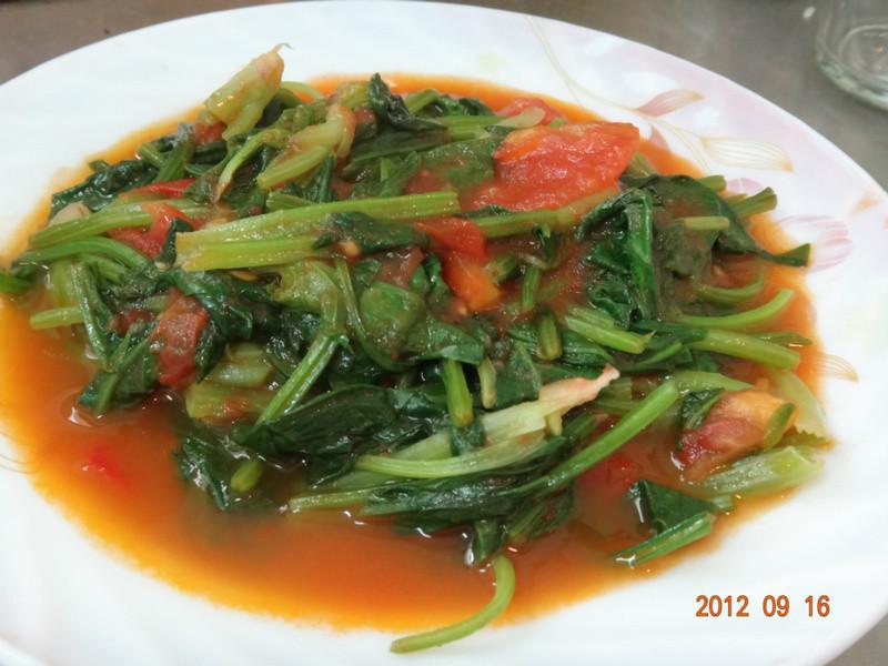 菠菜炒番茄