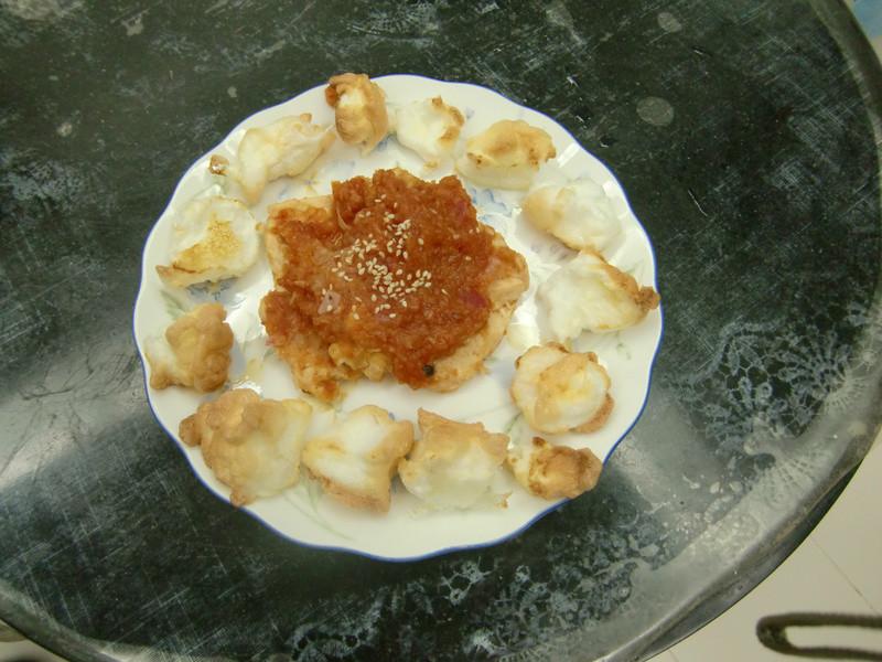雞排配莎莎醬+烤蛋白