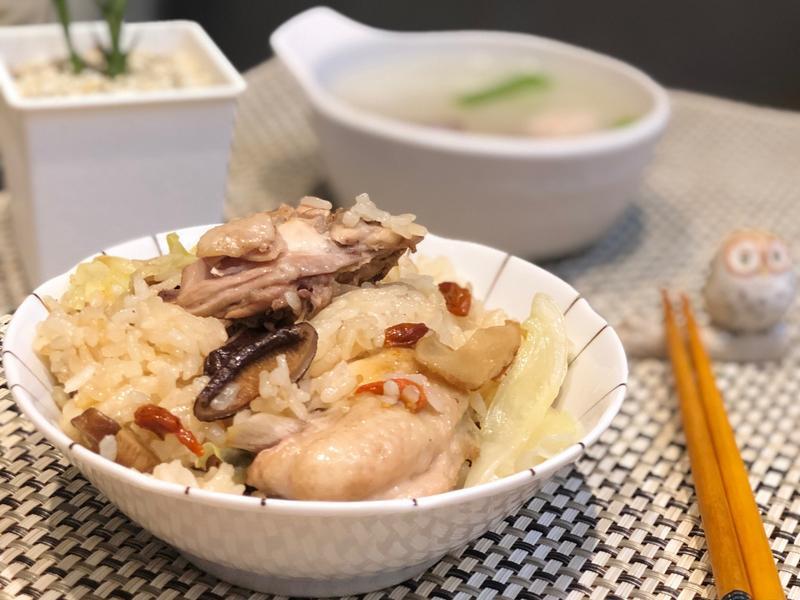 麻油雞香菇高麗菜飯(電鍋版)