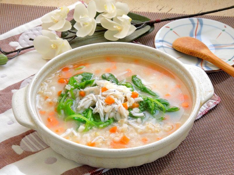 小魚莧菜糙米粥~快速、健康