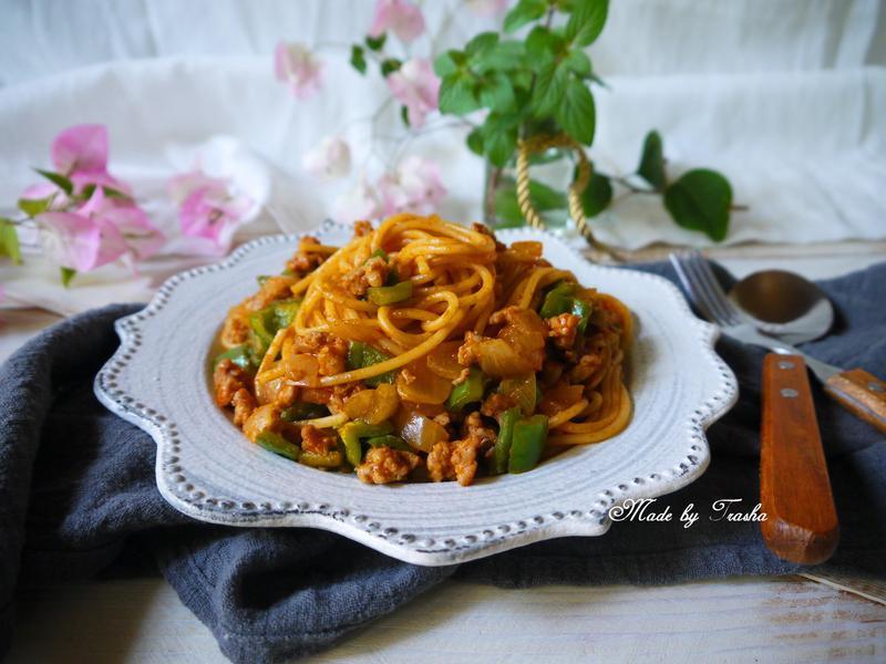 青椒肉末義大利麵