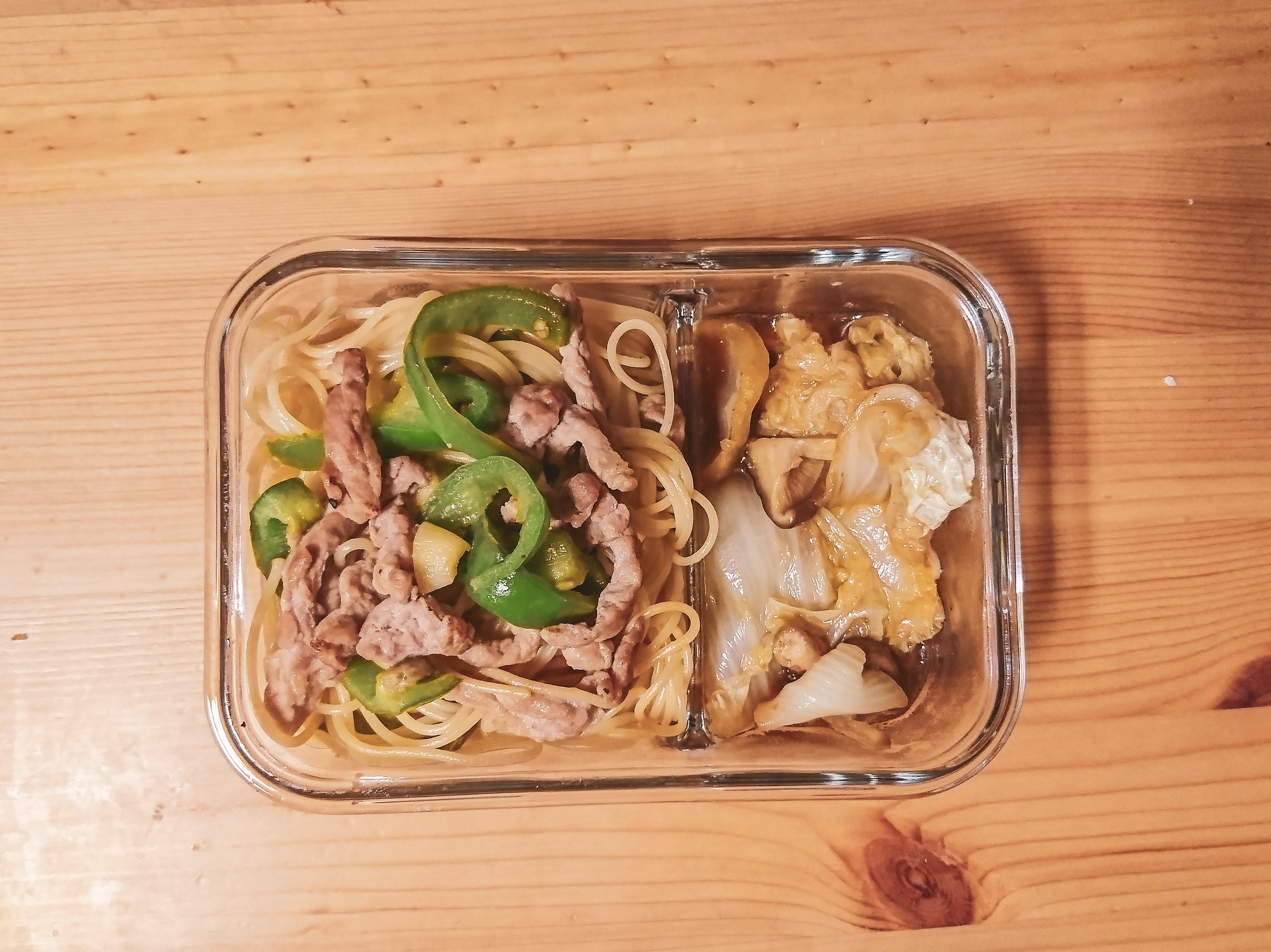 【便當】青椒肉絲義大利炒麵+白菜滷