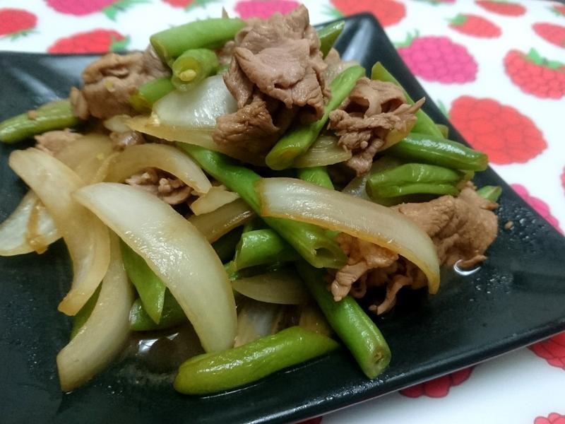 四季豆照燒豬肉片