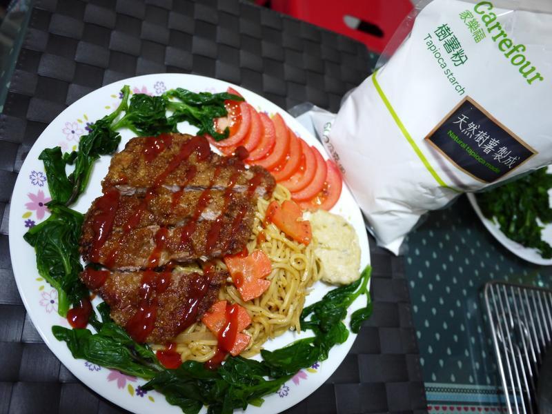 迷迭香豬排鐵板麵(家樂福樹薯粉)