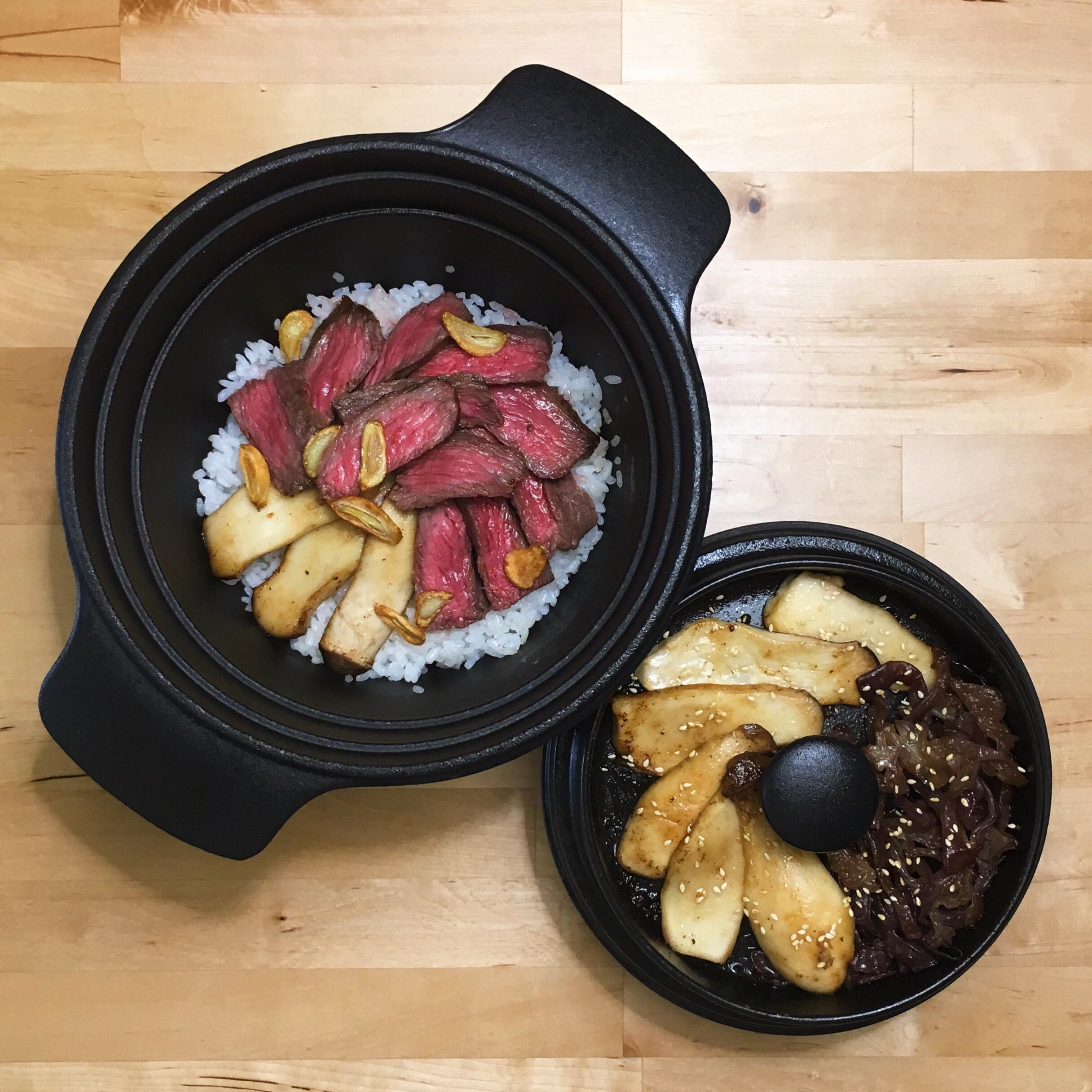 烤牛肉飯+鐵板杏鮑菇