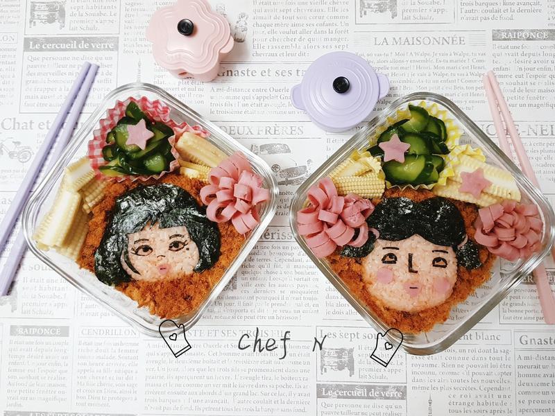 【網紅-美美 & 妃妃造型便當】