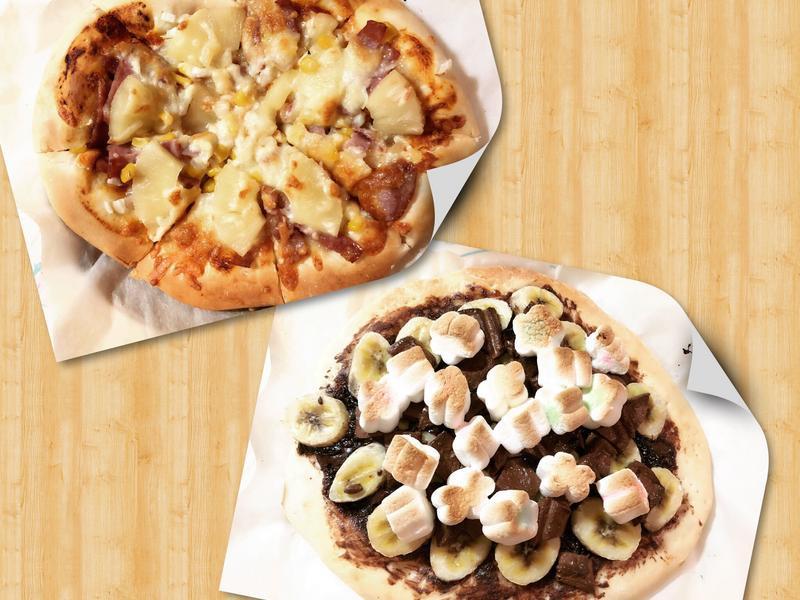 手作披薩(夏威夷+巧克力香蕉棉花糖)