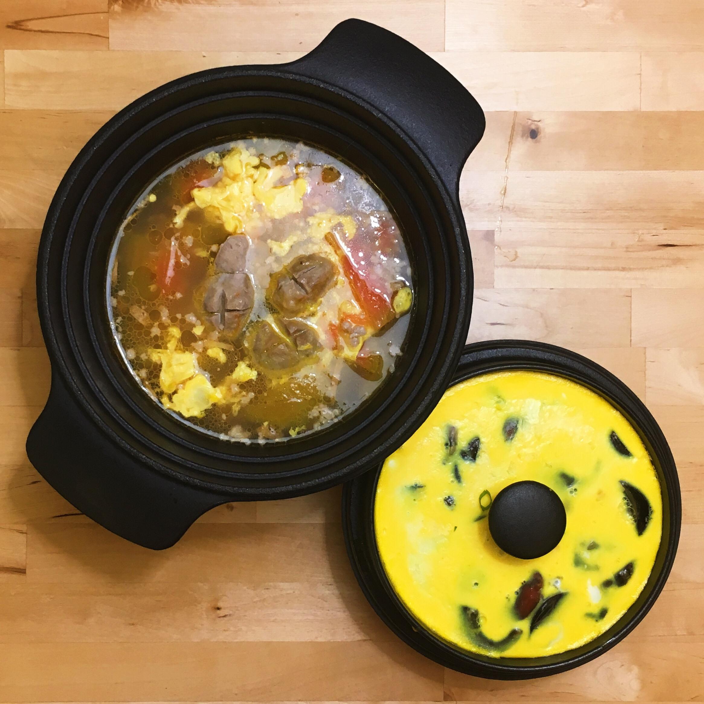 蕃茄蛋花湯+三色蒸蛋