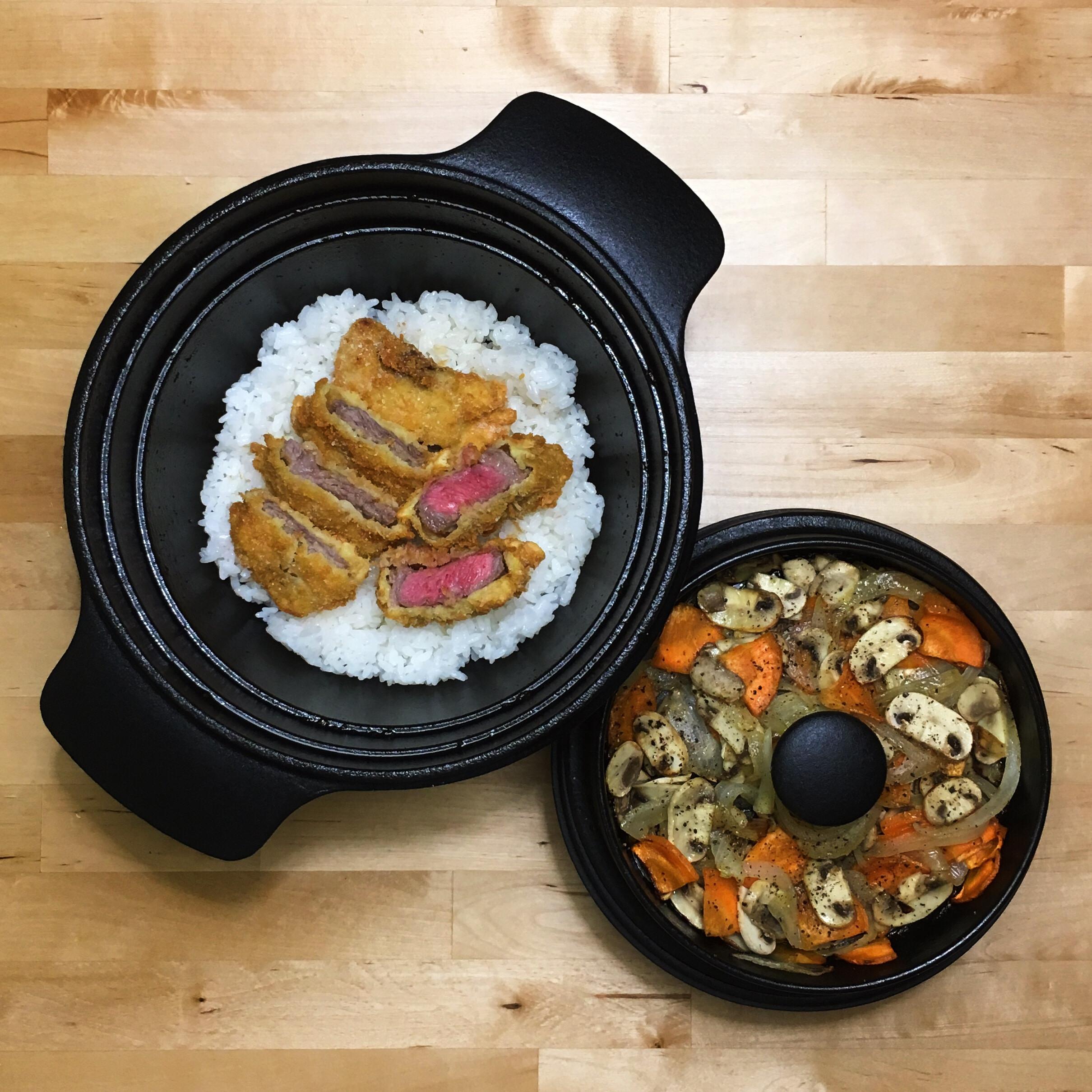 炸牛肉飯+奶油炒蘑菇