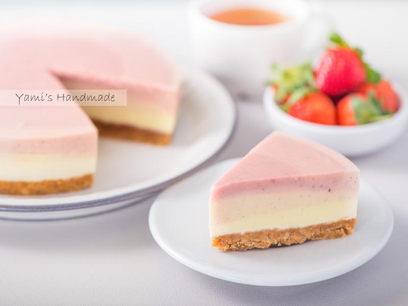 草莓漸層生乳酪蛋糕【免烤箱、超詳細步驟】