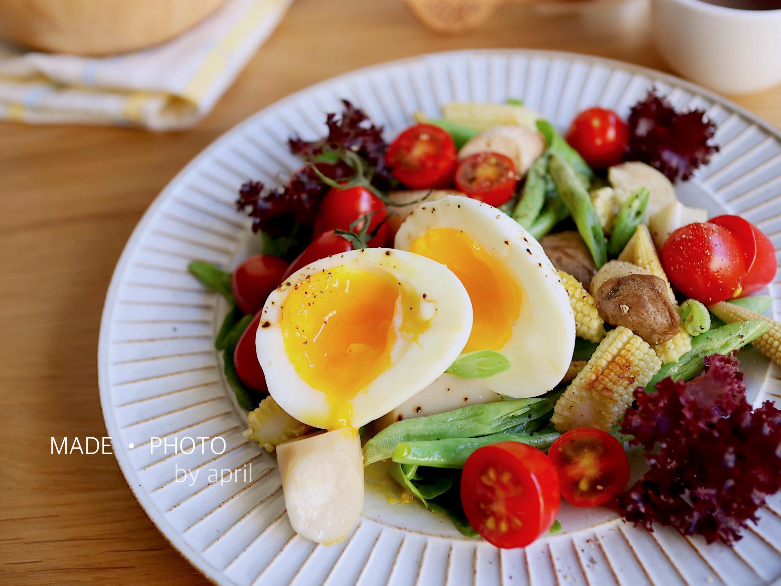 健康低醣 野菇水煮蛋溫沙拉