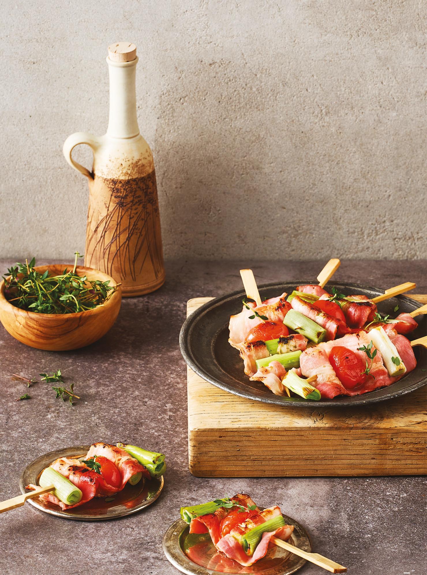 香蒜番茄培根捲串燒