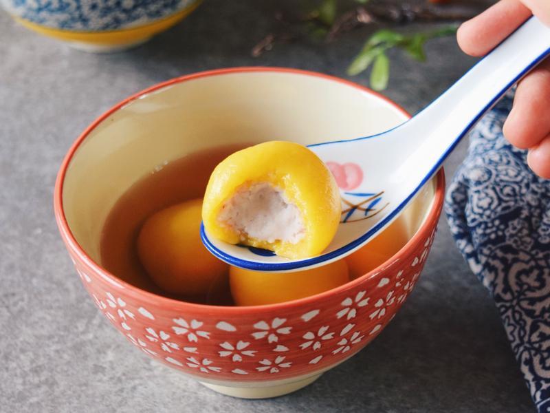 南瓜芋頭湯圓配菊花茶