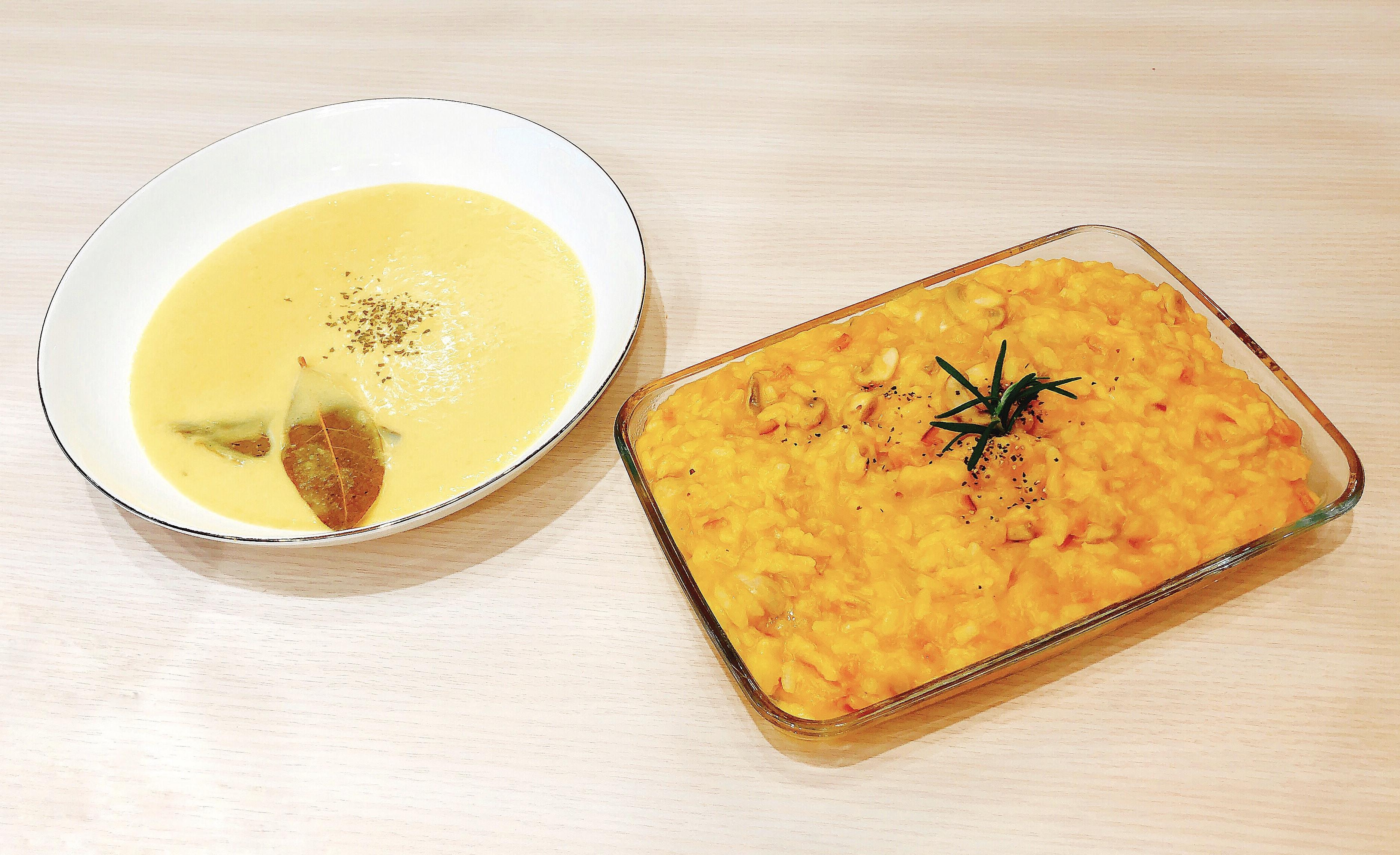 南瓜濃湯+南瓜燉飯=清冰箱料理