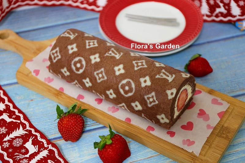LV彩繪蛋糕(可可草莓蛋糕捲)