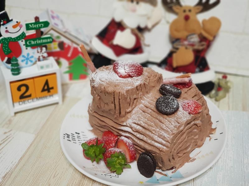 零廚藝懶人聖誕樹幹蛋糕