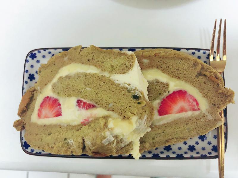 抹茶卡士達草莓蛋糕
