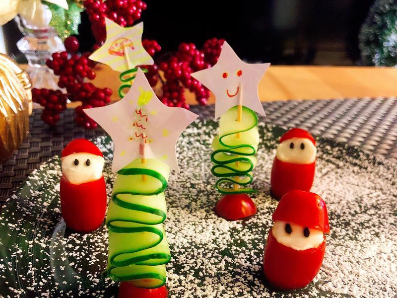 蕃茄水牛起司沙拉聖誕老公公聖誕節食譜