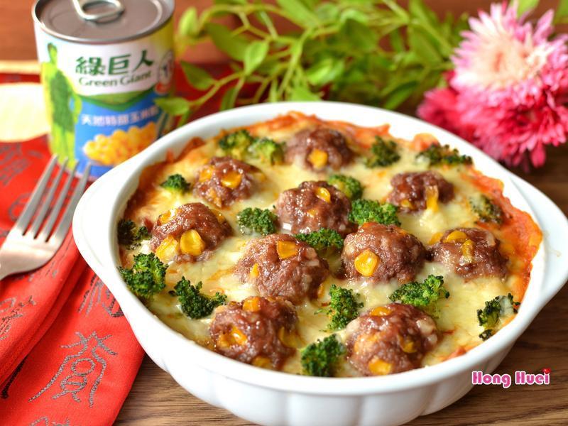 茄汁玉米肉丸子焗薯泥