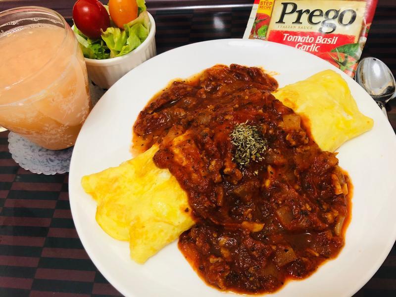 肉醬蛋包飯(普格意大利麵醬)