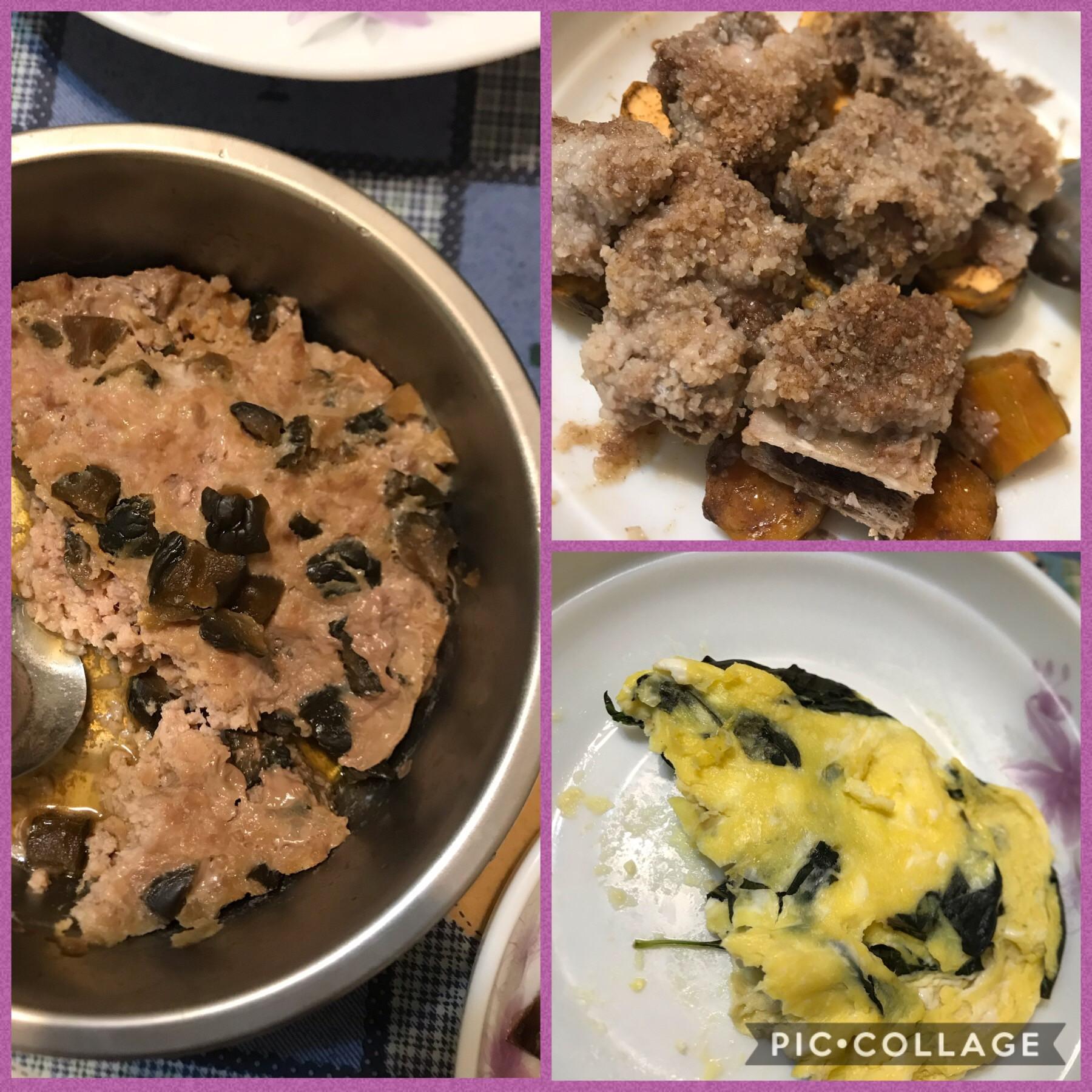 簡易3菜-瓜仔肉+粉蒸排骨地瓜+九層塔蛋