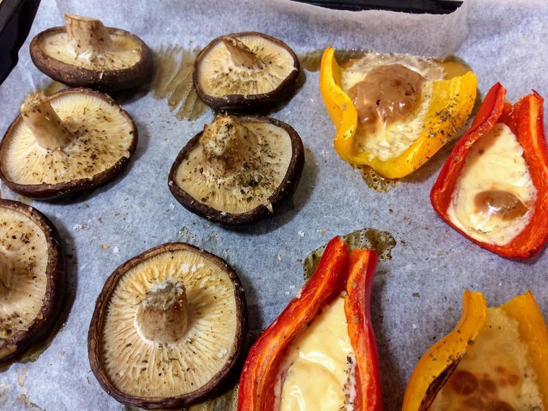 烤香菇&起司甜椒