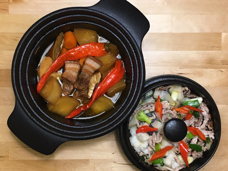 蘿蔔滷五花肉+白蘿蔔皮炒豬肉