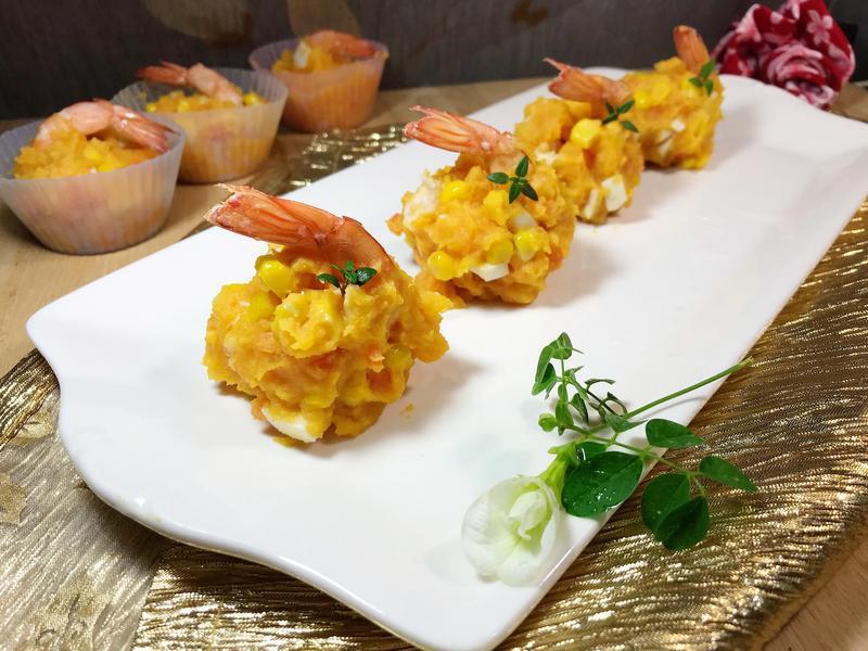 鮮蝦地瓜泥玉米沙拉