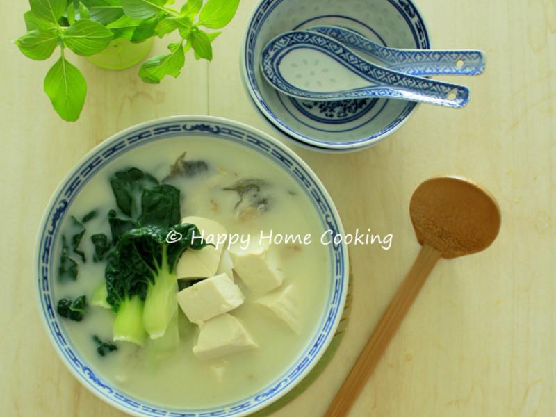小白菜豆腐魚頭湯 ~ 清熱潤燥!