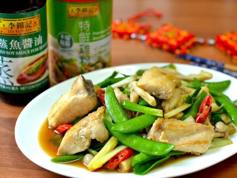 蔥香甜豆炒旗魚