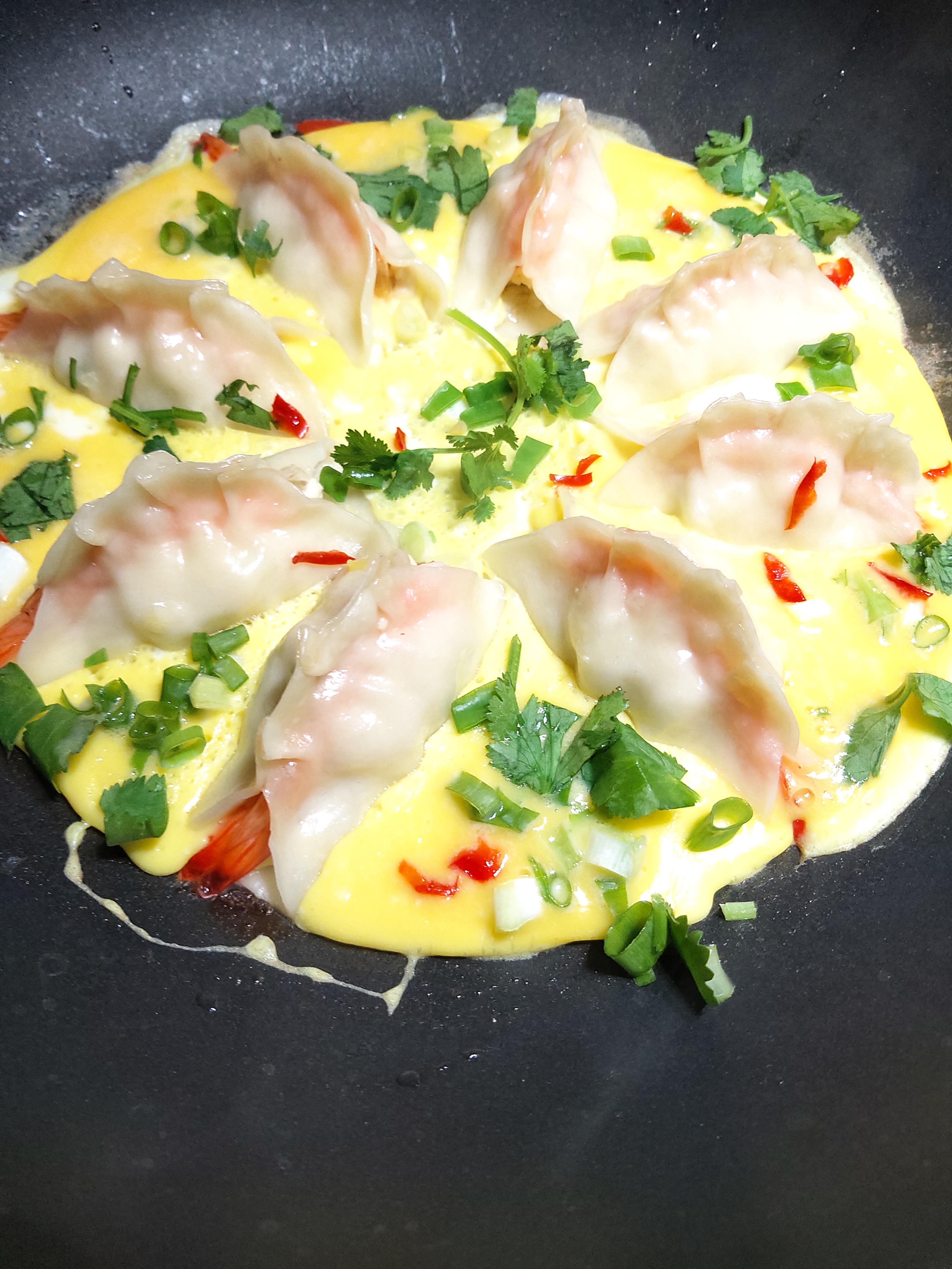 低脂~雞胸肉煎黃金蛋蝦餃
