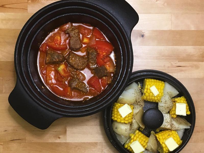 蕃茄燉牛肉+田園蒸玉米洋芋