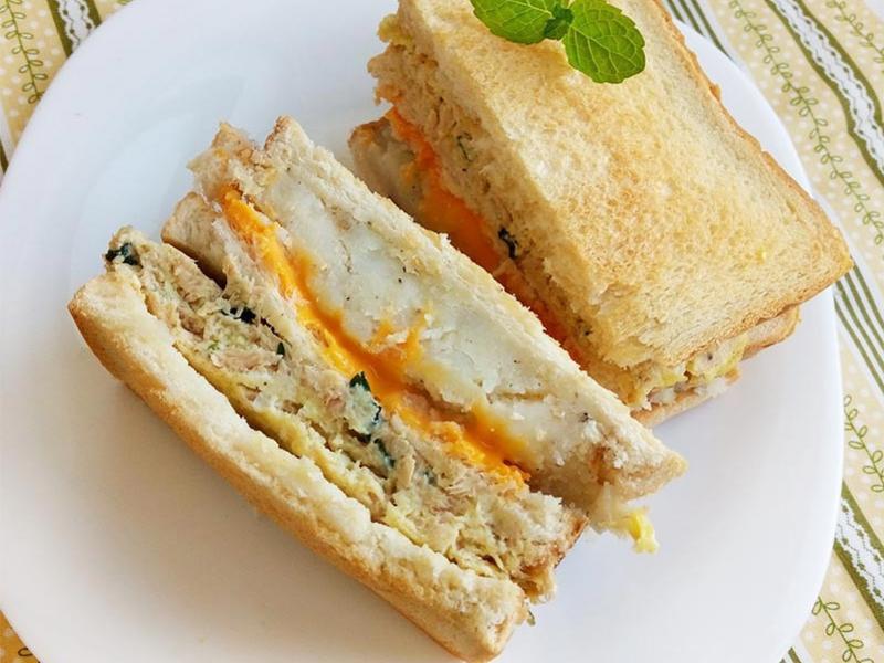 起司薯泥鮪魚蛋三明治