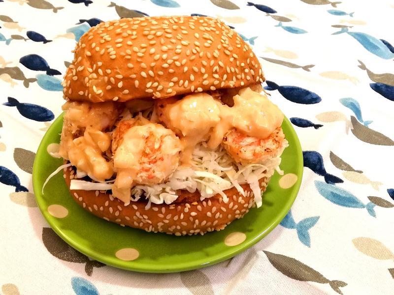 《漢堡千島醬》蝦肉漢堡~平底鍋料理免炸