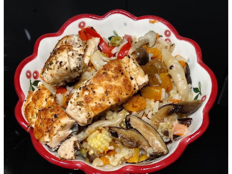 電子鍋~南瓜鮭魚炊飯