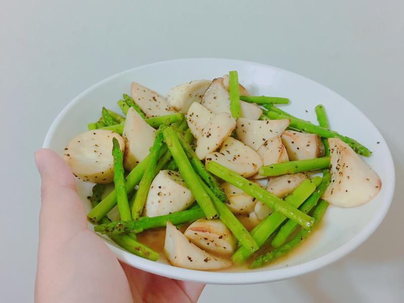 奶油炒杏包菇蘆筍