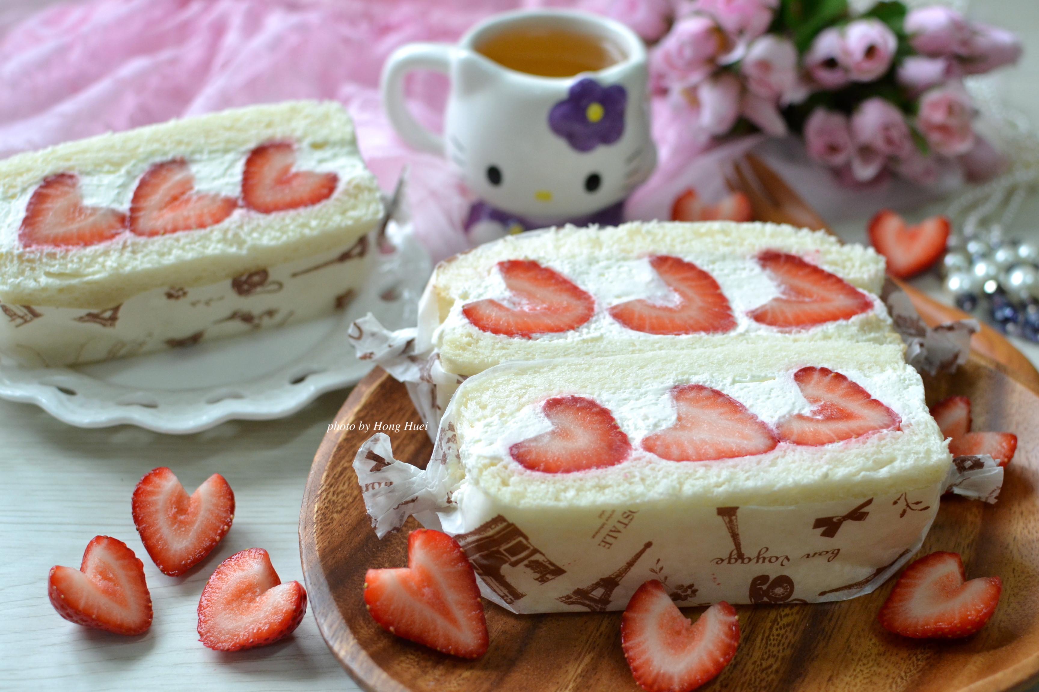 愛心草莓鮮奶油三明治